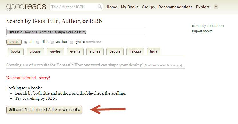 Goodreads - list new book